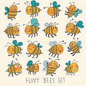 Cute cartoon vector set in bright colors. Funny bees in vector. Childish set with cute insects