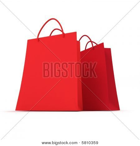 Pair Of Red Shopping Bags