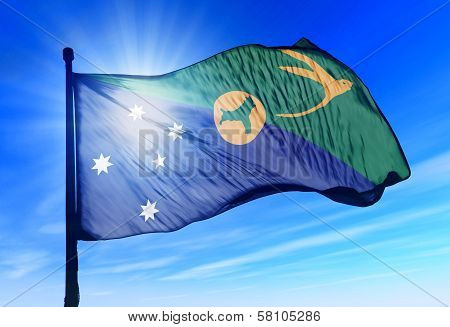 Christmas Island flag waving on the wind