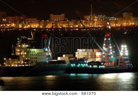 Cargo Ships Work At Night