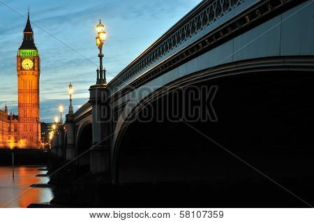 Westminster Bridge London UK at dusk