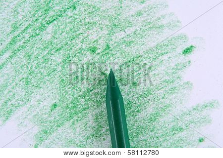 Green Colored Pencil Drawing On A White Background