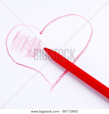 Romantic Toned Picture Of A Pencil Drawing Heart
