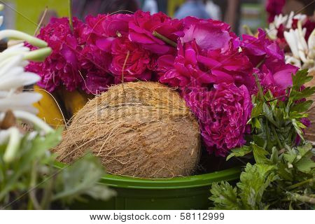 Flower And Fruits In Indian Temple