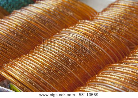 Background Of Yellow Indian Bangles