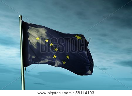 Alaska (USA) flag waving in the evening