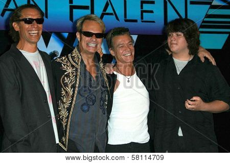 Alex Van Halen and David Lee Roth with Eddie Van Halen and Wolfgang Van Halen at the Van Halen Reunion Tour Press Conference. Four Seasons Hotel, Los Angeles, CA. 08-13-07