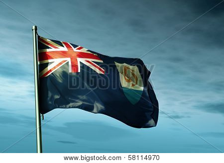 Anguilla flag waving in the evening