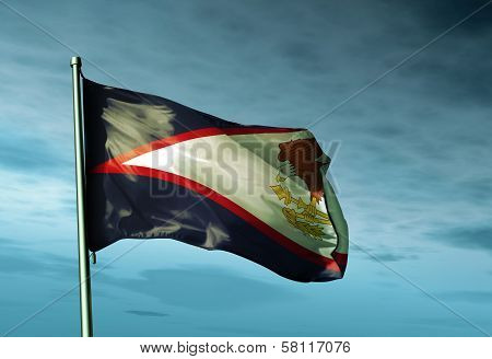 American Samoa flag waving in the evening