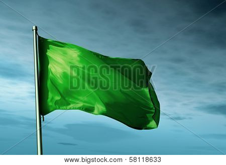 Libya flag waving in the evening