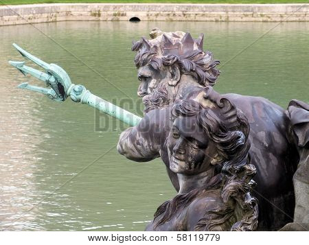 A Close Up Of Neptune At Versailles's Neptune Fountain