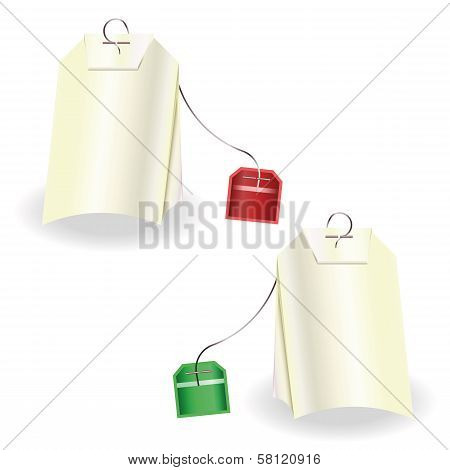 Set Of Tea Bags With Red And Green Labels