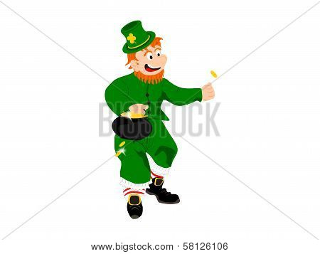 leprechaun small flipping coin