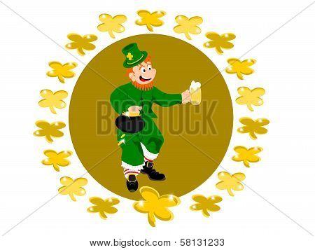 leprechaun beer circle gold clover