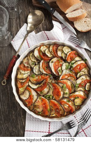 Ratatouille. Vegetable Gratin. Famous French Dish From Provence.