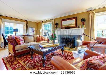 Charming Family Room With Old Style Furniture And Fireplace