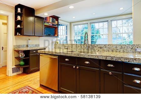 Kitchen Design. Black Wood Cabinets, Marble Counter Top
