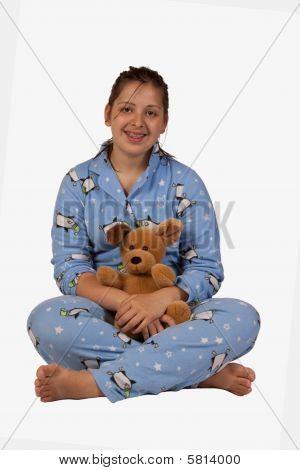 Teen girl in pajamas
