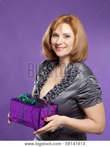 Beautiful Woman Portrait With Present Box
