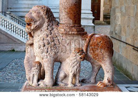 Lion Column Of Colleoni Chapel In Bergamo