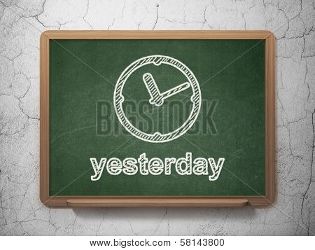 Timeline concept: Clock and Yesterday on chalkboard background