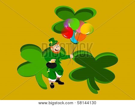 leprechaun balloons three clovers