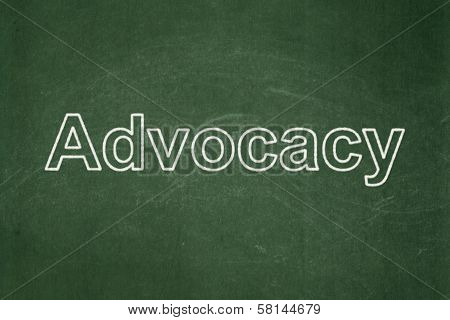 Law concept: Advocacy on chalkboard background