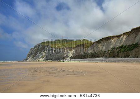Steep Coast Near Wissant City At Nord-pas-de-calais Region, France.