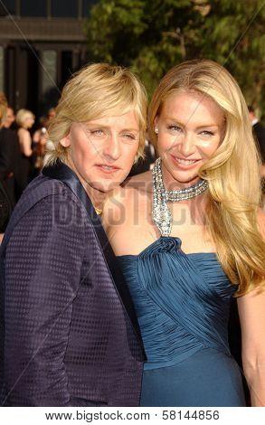 Portia de Rossi and Ellen DeGeneres arriving at the 59th Annual Primetime Emmy Awards. The Shrine Auditorium, Los Angeles, CA. 09-16-07