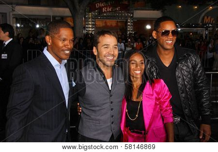 Jamie Foxx and Jeremy Piven with Jada Pinkett Smith and Will Smith at the World Premiere of