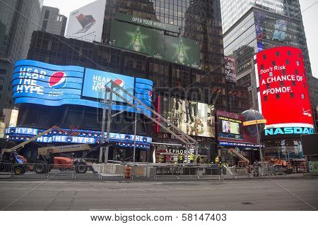 Super Bowl Boulevard construction underway on Times Square during Super Bowl XLVIII week in New York