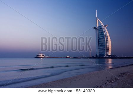 DUBAI, UNITED ARAB EMIRATES - DECEMBER 18: A general view of the first seven stars luxury hotel