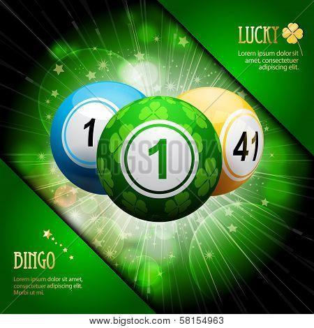 Lucky Clover Bingo Ball Explosion On Green
