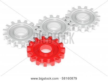 Gears Turning Together, One in Red