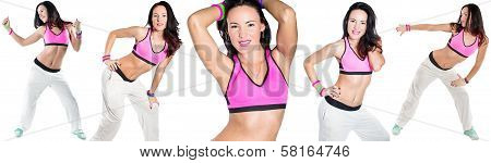 Collage Of Young Woman Dancing Isolated On White Background. Happy Cheerful Female Enjoying Fitness
