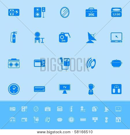 House Related Color Icons On Blue Background