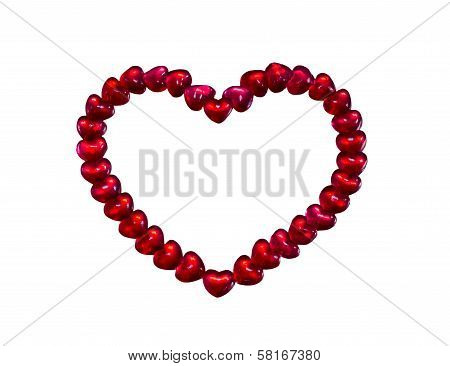 Red Heart Jelly Bean  On White