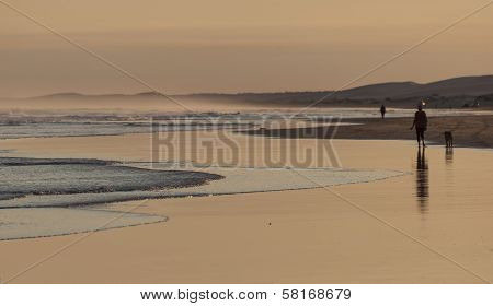 Sunset On Stockton Beach. Port Stephens. Anna Bay. Australia.