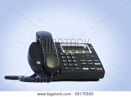 ip phone on blue