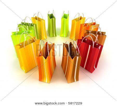 Círculo de rayas coloridas bolsas de la compra