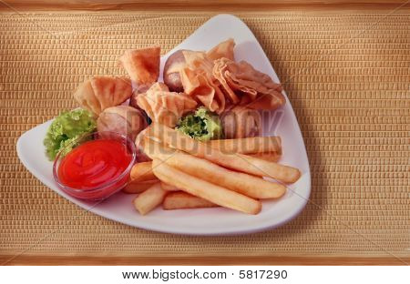 french fries and fried wanton