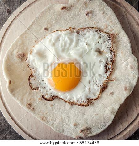 Fried Egg On  Grilled Flour Tortilla
