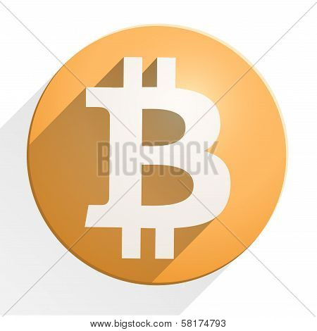 Flat Icon of financial currency Bitcoin
