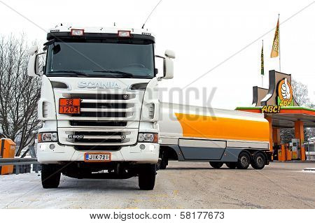 Scania R500 Tanker Truck Unloading Fuel At Petrol Station