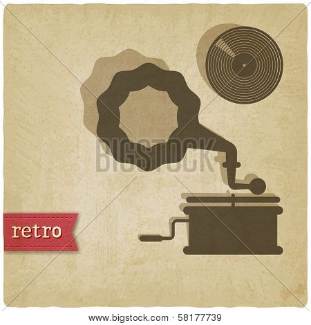 old background with gramophone and record
