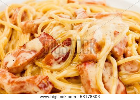 Spaghetti Carbonara Made With Eggs, Bacon, Cheese
