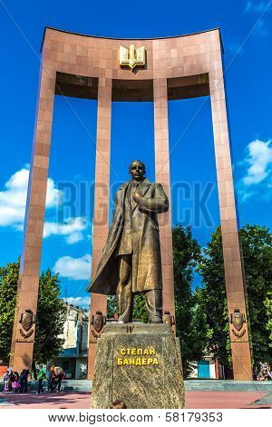 Monument Of National Ukrainian Hero S. Bandera And Great Trident In Lvov City
