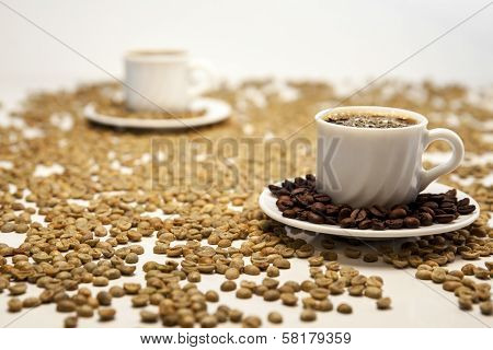 Two Cup Of Coffee On Beans