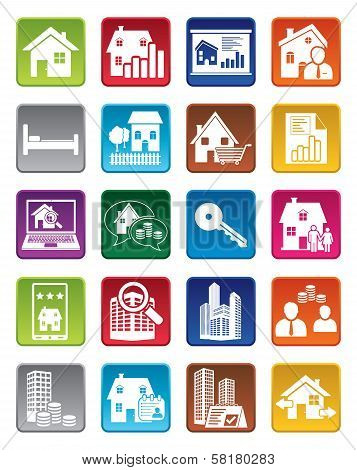 Colorful real estate icons