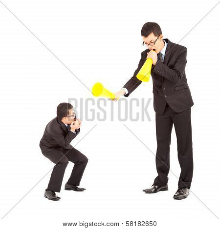 Businessman Blame Or Encourage To Worker With Megaphone